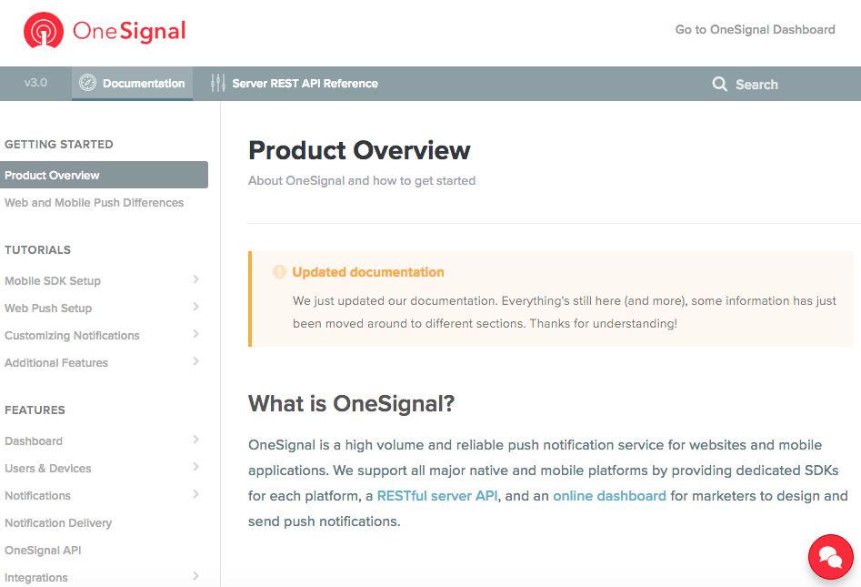 OneSignal Documentation Screenshot